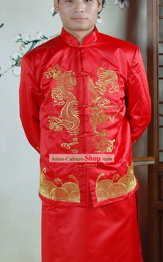 Traditional Chinese Red Dragon Wedding Dress