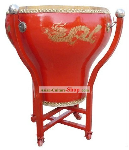 Traditional Chinese Red Flowerpot Dragon Drum