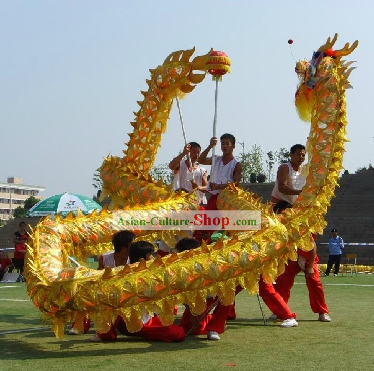 Shinning Golden Net Dragon Dance Head and Costumes Complete Set