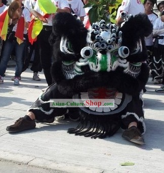 Long Wool Black Southern Lion Dance Costumes Complete Set