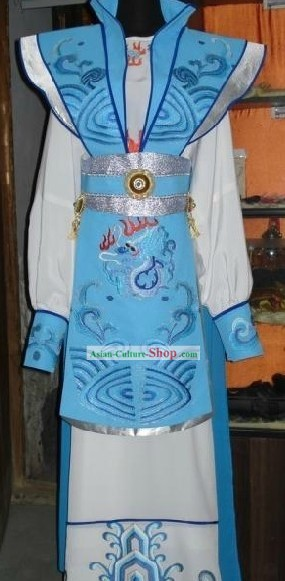 Chinese Classic Prince Blue Dragon Costume Complete Set