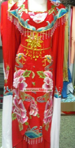 Chinese Classic Embroidered Peony Wedding Dress for Women