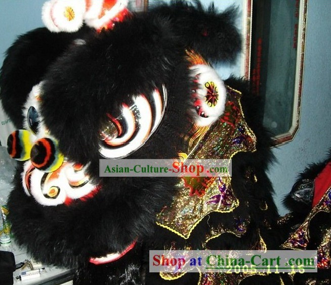 Supreme Black Wool Lion Dance Costume Complete Set