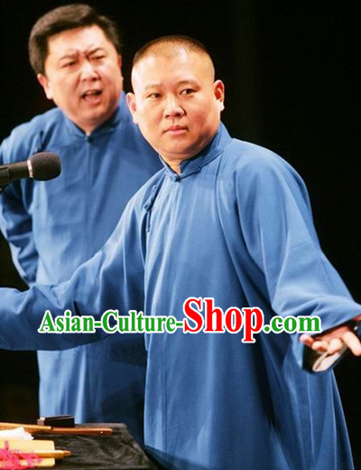 Traditional Chinese Minguo Cross Talk Long Robe for Men