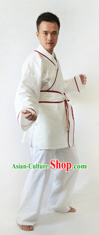 Traditional Chinese White Kung Fu Hanfu Suit for Men