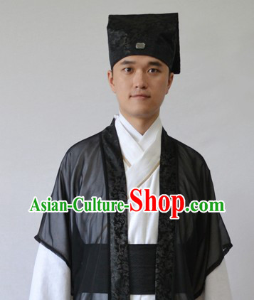 Ancient Chinese Scholar Clothing and Hat for Men