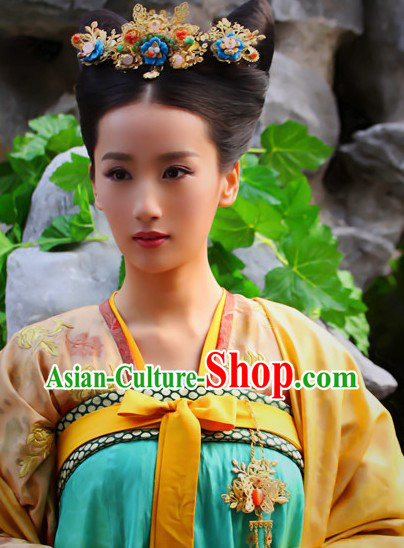 Ancient Chinese Tang Dynasty Princess Handmade Wig Headpiece for Women