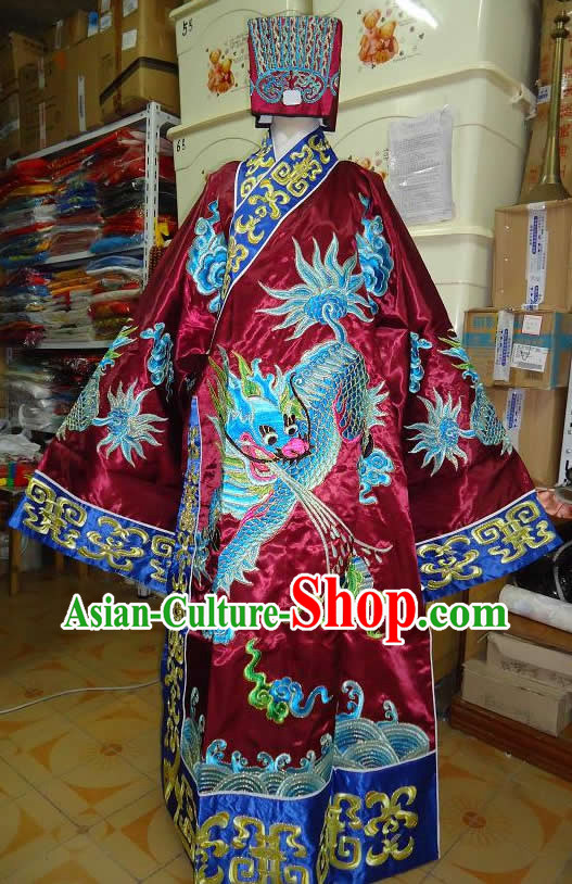 Ancient Chinese Opera Embroidered Kylin Prime Minister Costume and Hat for Men