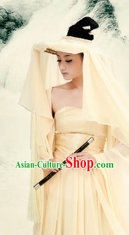 Ancient Chinese Lady in White Clothes and Hat Complete Set