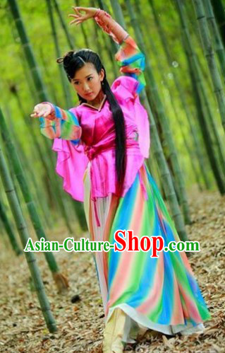 Ancient Chinese Swordswoman Rainbow Costumes Complete Set