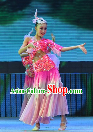 Chinese Classical Fish Carp Dance Costumes and Headpiece