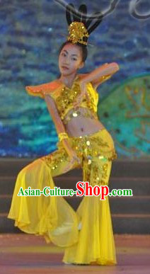 Chinese Classical Feitian Flying Apsaras Dance Costumes and Headpiece for Kids