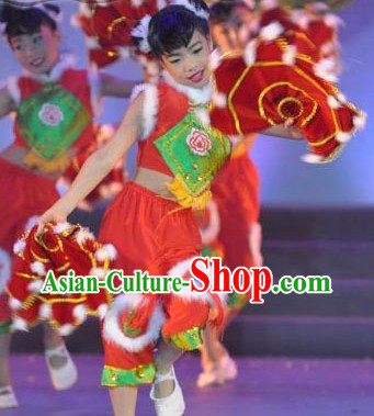 Chinese Spring Festival Handkerchief Dance Costume and Headpiece for Kids