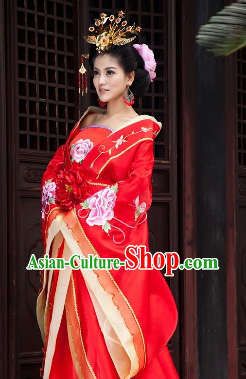 Ancient China Tang Empress Costume and Headpiece for Women