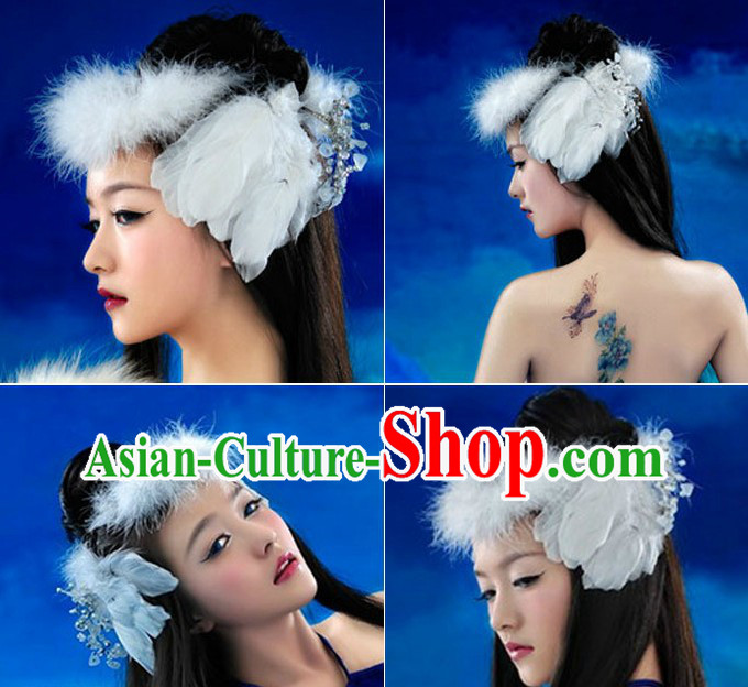 Chinese Classical White Feather Headpiece for Women
