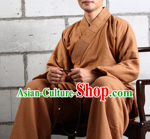 Chinese Classic Mandarin Buddist Arhat Luo Han Clothes Complete Set for Men