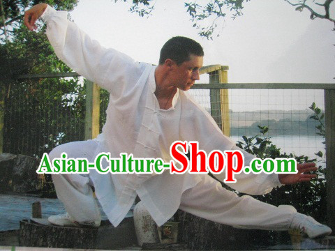 Traditional White Chinese Kung Fu Monk Clothes for Men