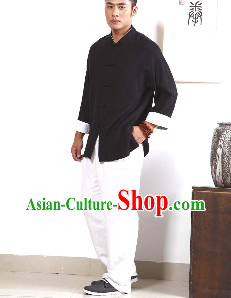 Traditional Chinese Style Black and White Kung Fu Suit for Men