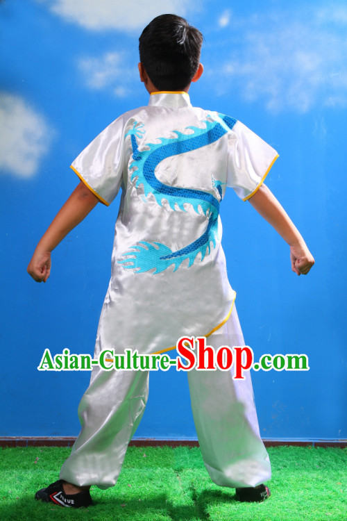 Traditional Chinese Embroidered Dragon Kung Fu Uniform for Kids