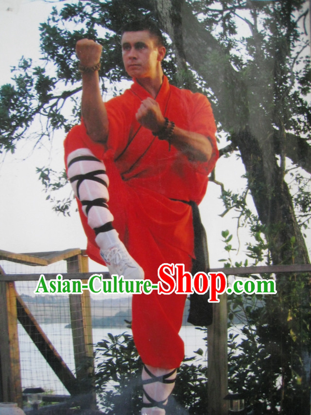 Orange Chinese Shaolin Kung Fu Monk Clothing for Men