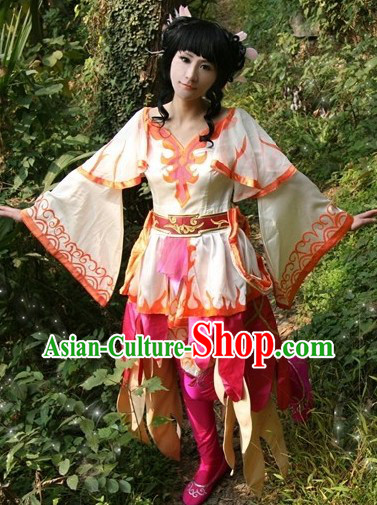 Ancient Chinese Swords Woman Costumes and Wig