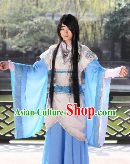 Ancient Chinese Kung Fu World Costume and Headpiece for Men