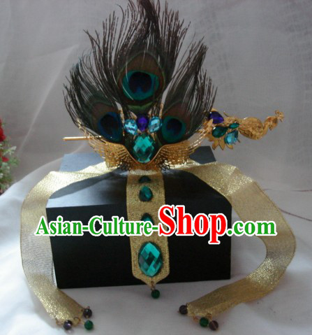 Ancient Chinese Style Handmade Peacock Feather Crown for Men