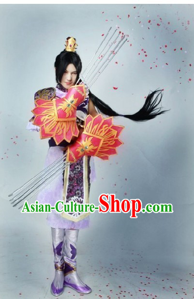 Ancient Chinese Halloween Three Kingdoms Fighting General Costume and Accessories for Men