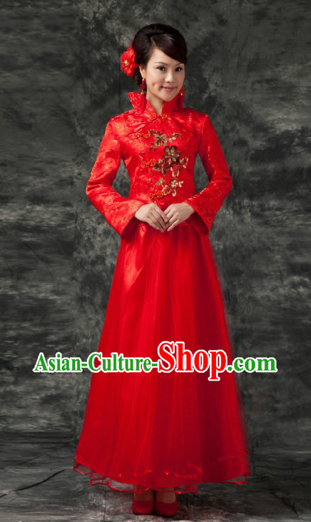 Traditional Chinese Red Wedding Skirt Clothes for Brides