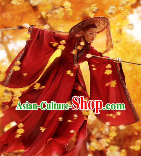 Ancient Chinese Swordsman Costumes and Hat