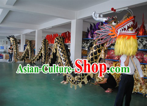 Shinning Black Competition and Parade Dragon Dance Costumes for Nine or Ten People