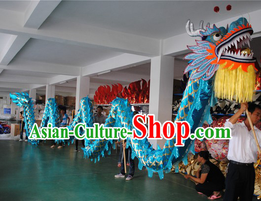 18 Meters Shinning Light Blue Competition and Parade Dragon Dance Costumes for Nine or Ten People