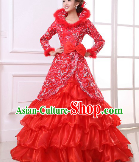 Lucky Red Long Tail Wedding Dress for Brides