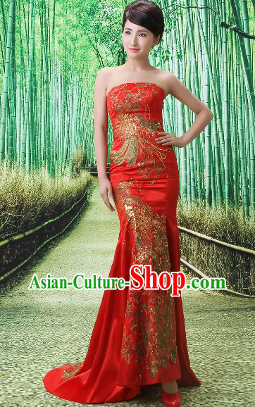 Chinese Style Red Phoenix Evening Dress for Brides