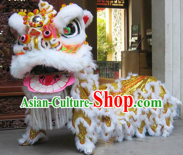 Supreme Yellow and Black Powerful Lion Dance Costume Complete Set