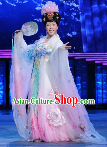 Ancient Chinese Tang Dynasty Palace Princess Costumes and Headpiece
