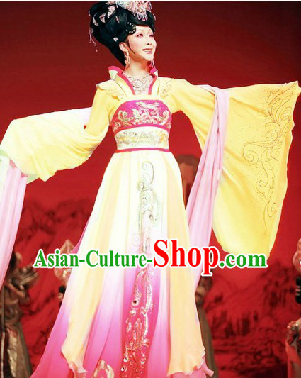 Ancient Chinese Tang Dynasty Palace Yang Guifei Costumes and Headpiece