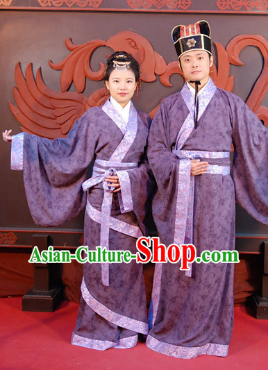 Ancient Chinese Husband and Wife Clothing Two Sets