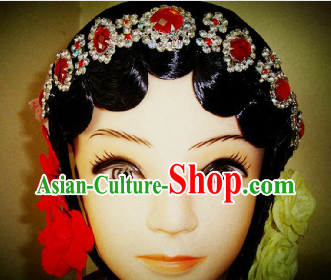 Traditional Chinese Dramatic Black Wig and Partial Accessories for Women