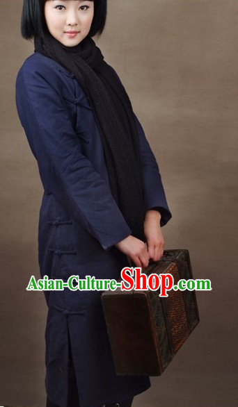 Chinese Deep Blue Minguo Old Time Cotton Winter Cheongsam
