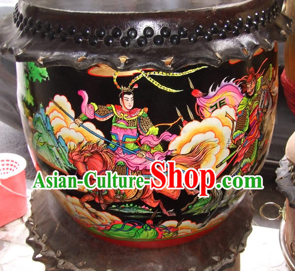 Hand Painted Three Kingdoms Heroes Lion Dance and Dragon Dance Performance Drum Collectible
