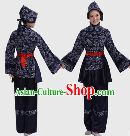Traditional Chinese Female Farmer Costume and Headpiece for Women