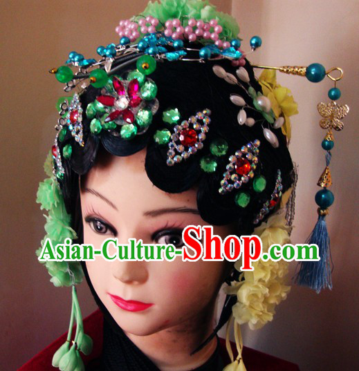 Traditional Chinese Dramatic Wig and Headpiece Set