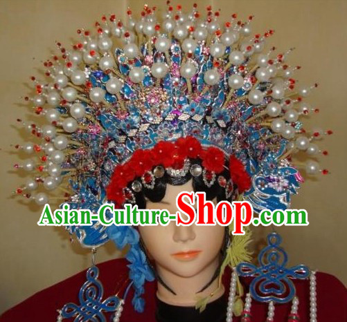 Traditional Chinese Phoenix Butterfly Coronet and Wig Set