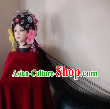 Traditional Chinese Huadan Long Pigtail Wig and Hair Accessories