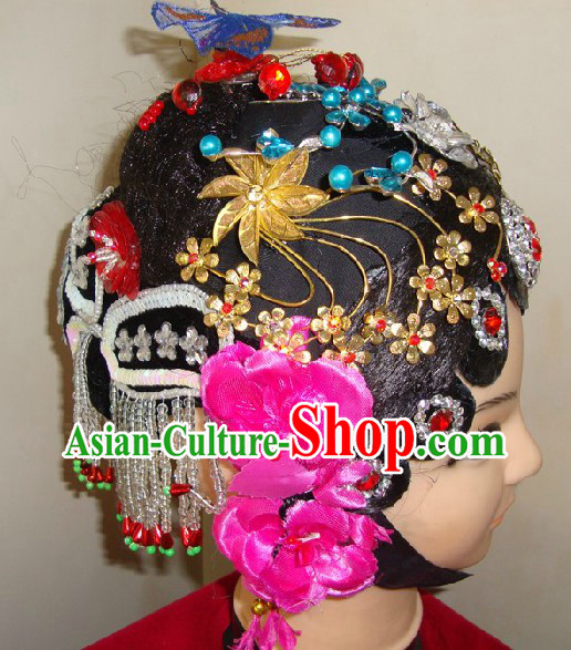 Traditional Chinese Stage Performance Dramatic Wig and Headpiece Set