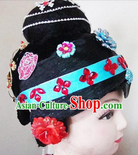 Traditional Chinese Dramatic Opera Wig and Headpiece Set