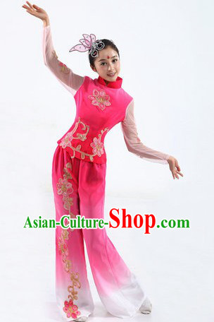Traditional Chinese Yangge Fan Dancing Costume and Headpiece for Women