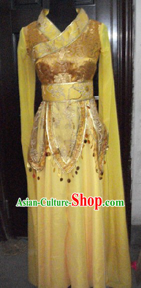 Gold Chinese Classical Dancing Costume for Women
