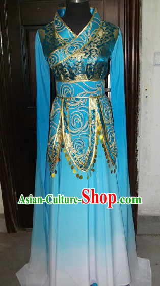 Blue Chinese Classical Dancing Costume for Women